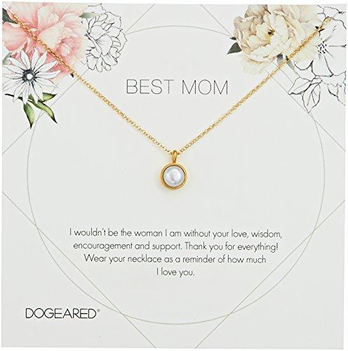- Dogeared Best Mom Flower Card Large Bezel Pearl Pendant Chain Neckalce, Gold, 16