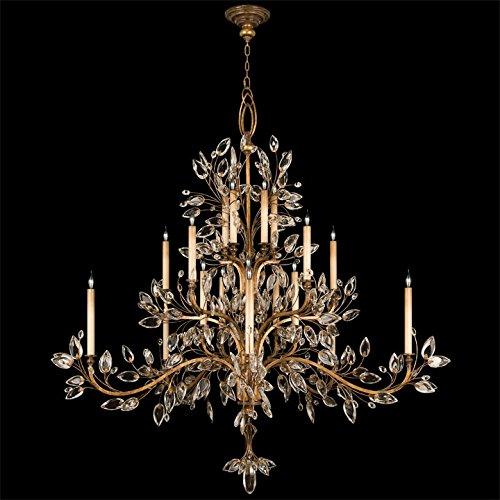 Laurel Chandelier Crystal Gold (Fine Art Lamps 774540, Crystal Laurel Crystal 3 Tier Chandelier Lighting, 20 Light, 1200 Watts, Gold)