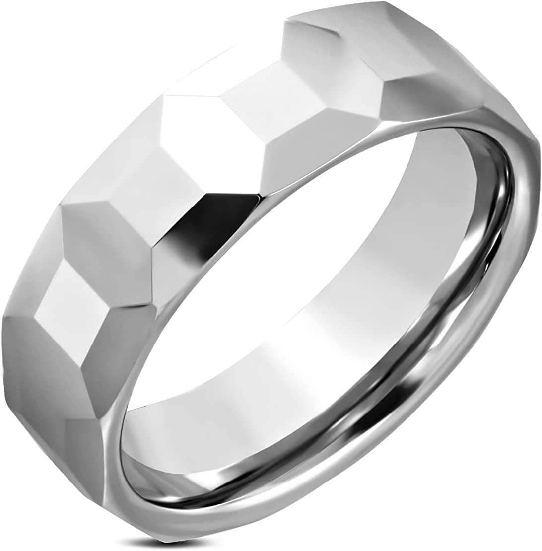 Tungsten Carbide Octagon Faceted Comfort Fit Half-Round Band Ring