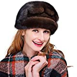 URSFUR Women's Mink Fur Cloche Hats with Mink Fur Pom Poms (One Size, Coffee)