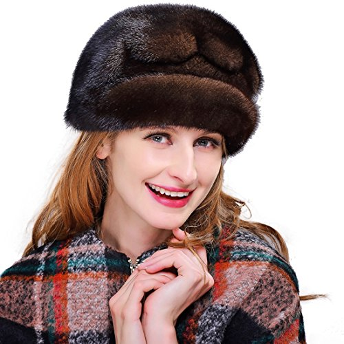 URSFUR Women's Mink Fur Cloche Hats with Mink Fur Pom Poms (One Size, Coffee) by URSFUR