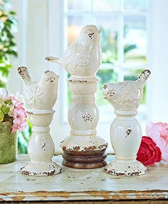 KNL Store Set of 3 Rustic Ceramic Shabby Chic Bird Finials Decor Pedestal Base Home Accent Decoration