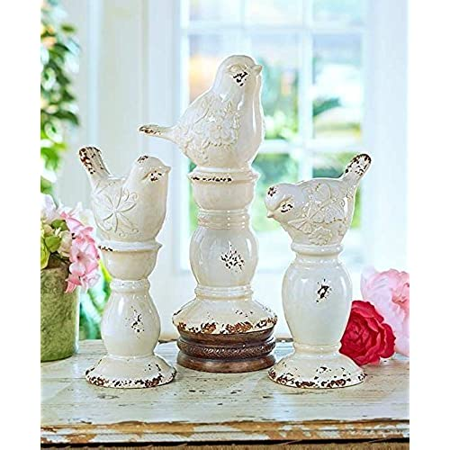 Set Of 3 Rustic Ceramic Shabby Chic Bird Finials Decor Pedestal Base Home  Accent Decoration
