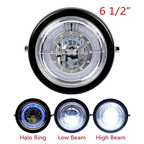 TASWK 6 1/2'' CREE LED Motorcycle Retro Black Clear Lens Headlight Halo Ring for Harley Bobber Cafe Racer Cruiser Vintage Style by TASWK (Image #3)
