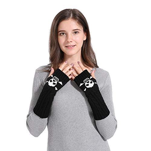 (Xlala Woman Winter Gloves,Warm Knitted Skeleton Pattern Long Twist Plus Thick Half Finger Gloves Mittens)