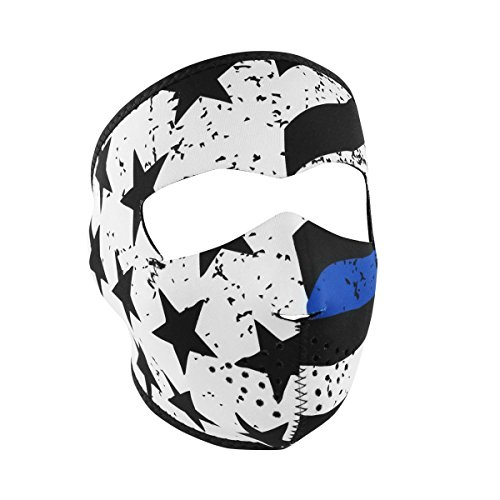 - Thin Blue Line Neoprene FULL Face Mask, Ski, Bike Face Protection Gear - One Size