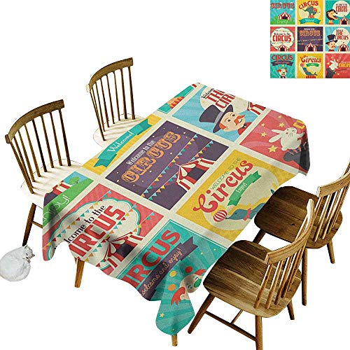 kangkaishi Easy to Care for Leakproof and Durable Long tablecloths Outdoor Picnic Collection of Old Circus Icons Carnival Magicians Old Fashioned Nostalgic Festive W60 x L126 Inch Multicolor ()