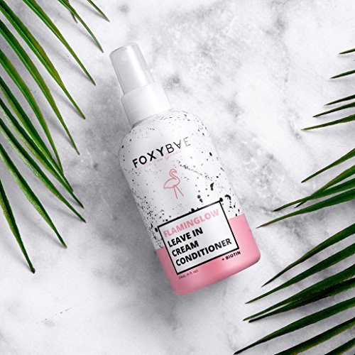 FoxyBae Flaminglow Leave-In Conditioner Cream - Detangling Conditioning Spray with Keratin + Biotin for Hair Growth Enhancer, Curly, Color Treated Hair - 8 oz (Best Leave In Conditioner For Fine Oily Hair)