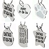 Stainless Steel Pet ID Tags Dog Tags Personalized Front and Back Engraving (Bone)