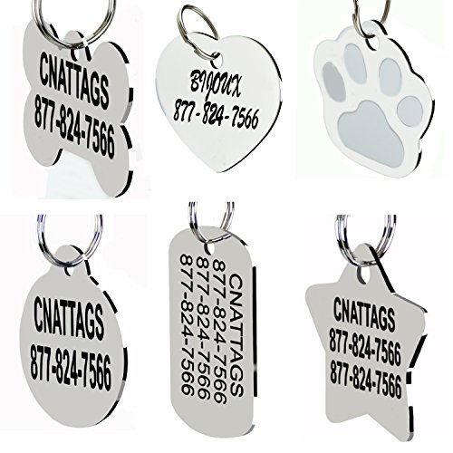 Stainless Steel Pet ID Tags Dog Tags Personalized Front and Back Engraving (Paws Id Tag)