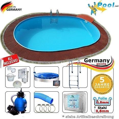 Ovalbecken 7,37 x 3,60 x 1,50 m Set Stahlwandpool Schwimmbecken Ovalpool 7,37 x 3,6 x 1,5 Swimmingpool Stahlwandbecken Fertig