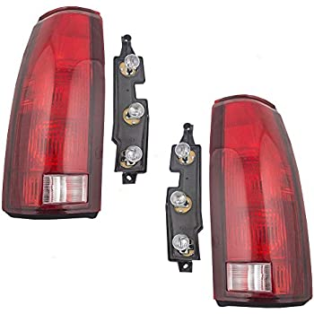tail light assemblies pair set rear lamps with bulb sockets & connector  plates for 88-99 gmc chevy pickup 00 2500/3500 c/k old body style truck  replaces