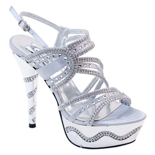 New Brieten Women's Rhinestone Strappy Platform High Heel Bling Slingback Party Evening Sandals B00GAWPDL8 9 B(M) US