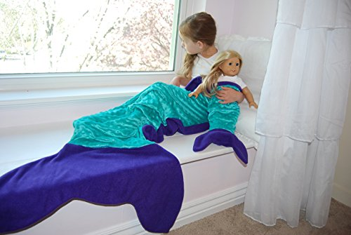 Girl + Doll Mermaid Tail Blanket Set, Purple, Made in the USA