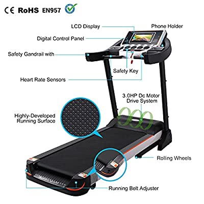 Leoneva Fitness Folding Electric Treadmill Exercise Equipment Home Gym Inclines Motorized Walking Running Machine with WIFI Color Touch Screen