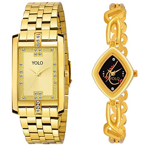 Allure Analog Golden Men's & Women's Couple Watches | Couple Watches Set