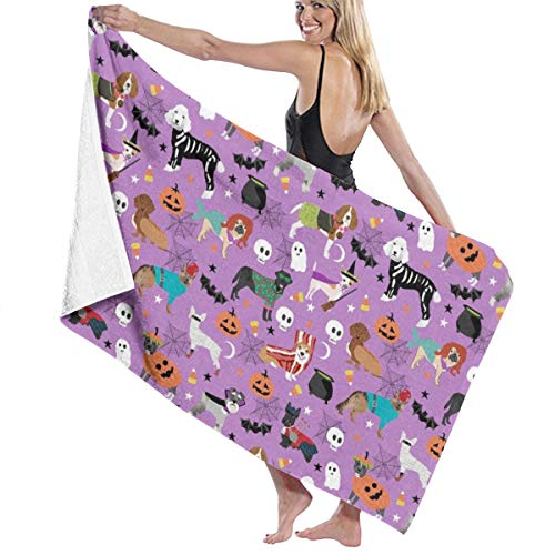Dogs Halloween Dog Costumes Pet Breeds Corgi Doxie Labrador Poodle Beach Towels for Women Large Microfibre Beach Blanket Towel for Kids 32 X 52 Inch]()