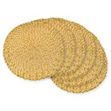 DII Round Woven, Indoor & Outdoor Braided Placemat or Charger For Everyday Use with Tinsel, Set of 6, Gold