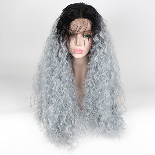 SHANDIREN Outdoor 2 Tones Ombre Light Green Dark Rooted Short Loose Curly Lace Front Wigs Synthetic High Density Heat Resistant Fiber Wigs For Women 22 Inches