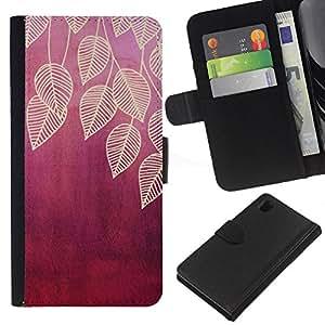 KLONGSHOP // Tirón de la caja Cartera de cuero con ranuras para tarjetas - deja la hoja de ciruela marrón naturaleza roja - Sony Xperia Z1 L39 //