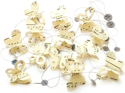 Musical Note Butterfly Garland for Decor or Parties (Note Ornament Musical)