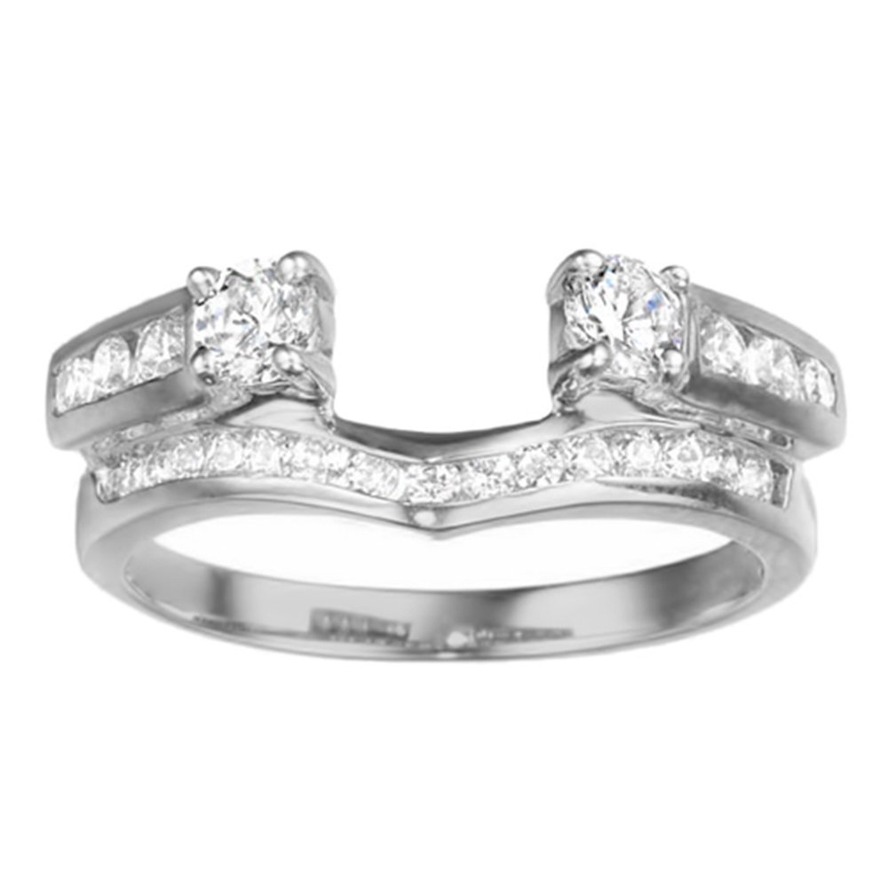 TwoBirch 0.75 ct. Cubic Zirconia Cathedral Style Ring Wrap Enhancer Jacket in Sterling Silver (3/4 ct. twt.)