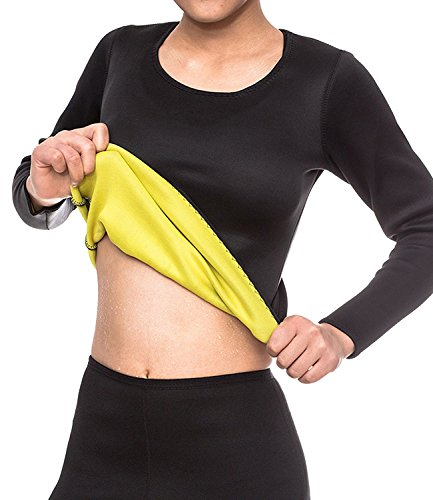 SEXYWG Womens Neoprene Long T-shirt Sweat Sauna Hot Body Shaper for Weight Loss (Sexy Pants Suits)