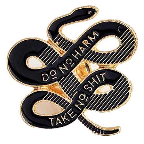 Janedream Women Bohemian Snake Brooch Banquet Badge Pins Buckle Badge Backpack Bag Pins Punk Gold