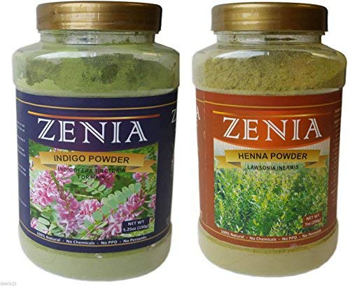 100% Natural 100g Zenia Indigo Hair Dye + 125g Pure Henna Powder Bottle Hair Kit by Zenia