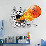U-Shark 3D Self-adhesive Removable Break Through the Wall Vinyl Wall Stickers / Murals Art Decals Decorator (Flying Fire Basketball (19.7' X 27.6'))