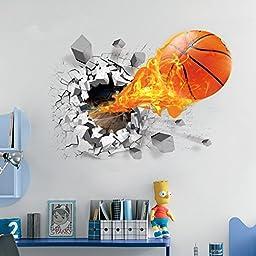 U-Shark 3D Self-adhesive Removable Break Through the Wall Vinyl Wall Stickers / Murals Art Decals Decorator (Flying Fire Basketball (19.7\