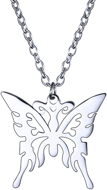 TAGOMEI Lovely Butterfly Pendant Necklace Jewelry for Women Girls Kids, Silver Stainless Steel Pendant Chain Necklace