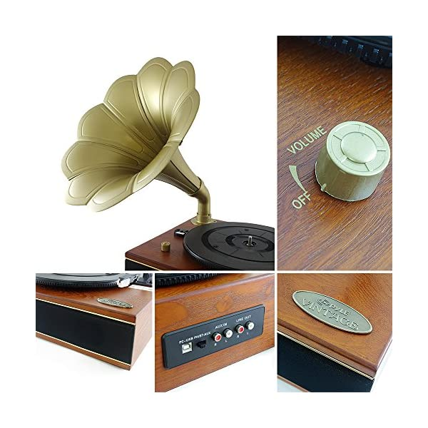 Bluetooth Compatible Gramophone Vintage Turntable - Classic Retro Record Player Speaker System w/ 2-Speed, Full Range Stereo Speakers, Convert Vinyl to Digital MP3, USB, AUX, RCA - Pyle PNGTT12RBT 5