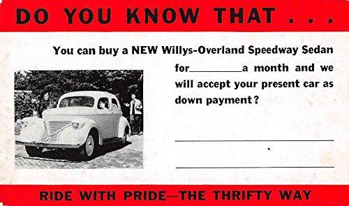 - Toledo Ohio Willys Overland Motors Speedway Sedan Ad Antique Postcard J73001