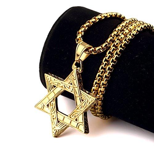 [NYUK Trendy Hip Hop Jewelry Mens Judaism Hexagram Titanium Steel Gold Chain Necklace] (Guys Hip Hop Dance Costumes)