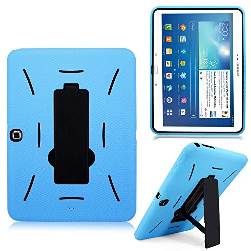 Cellularvilla for Samsung Galaxy Tab 3 10.1 inch Tablet P5200 P5210 Baby Blue Black Hard Soft Hybrid Armor Heavy Duty Rugged Shell Protective Case Cover with Built in Kickstand