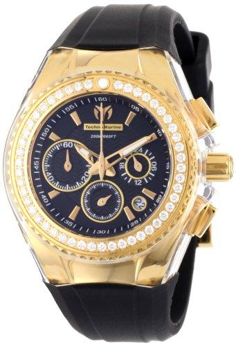 TechnoMarine Women's 111008 Cruise Original Star Chronograph Diamond Black Silicone Watch (Chronograph Watch Cruise)