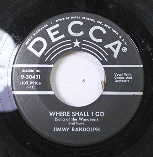 JIMMY RANDOLPH 45 RPM WHERE SHALL I GO / WAY BEYOND THE HILLS