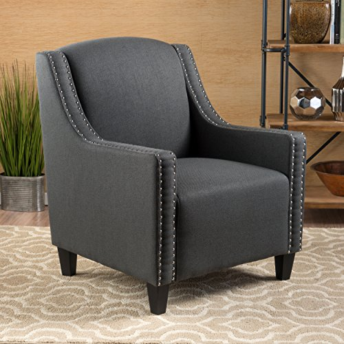 Ellesmere Midnight Grey Fabric Studded Club Chair