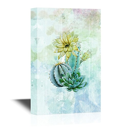 Yellow Cactus Flower on Abstract Watercolor Background