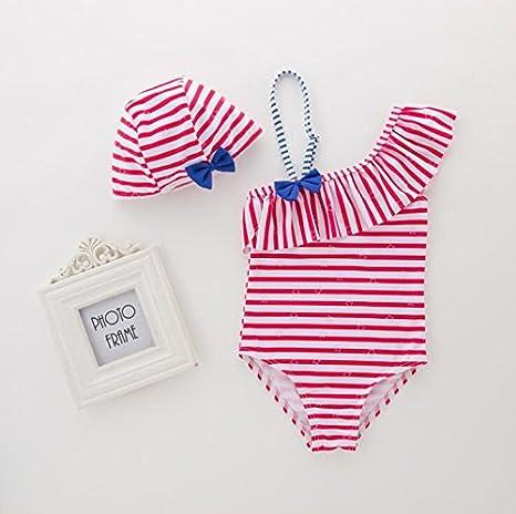 FIZUOXVE Little Girls Off Shoulder Cute Bowknot Stripe Sling One-Piece Bikini with Hat Set
