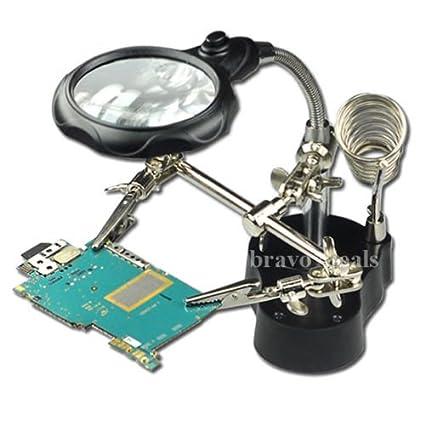 emotree 3,5/12 compartimento Tercera Mano Ampliación LED lupa con pinzas para soporte