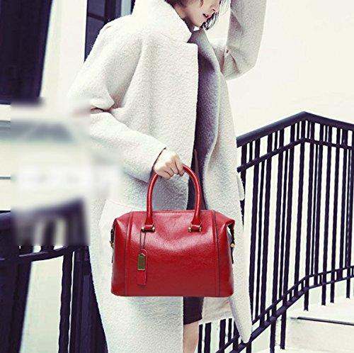 Mujer Moda Estilo Nuevo Bolso De Boston PU clásico De Gama Alta Solo Bolso De Hombro Bolso Bolso De Hombro Inclinado Red