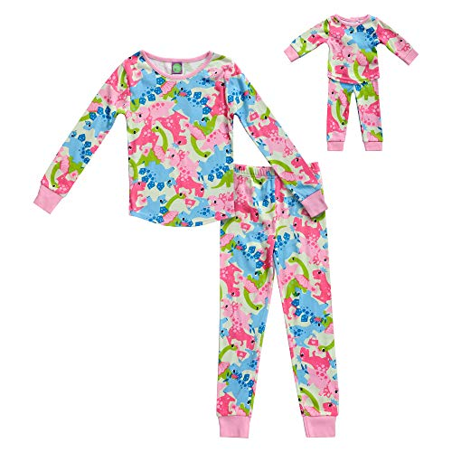Dollie & Me Girls' Apparel Snug Fit Sleepwear Set and Matching Doll Outfit in, Multicolor, Size 6X ()