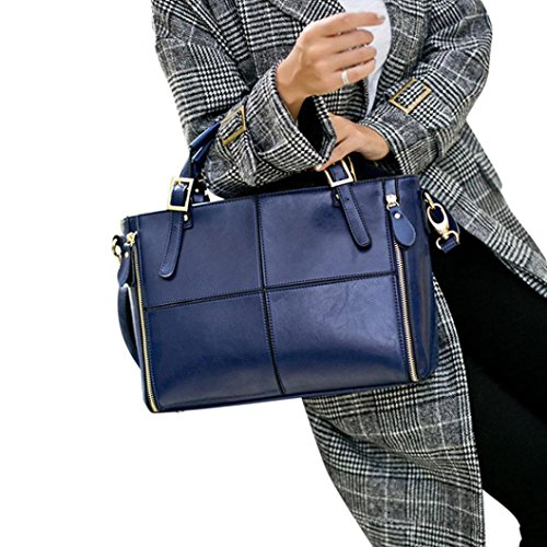 Hot Sale!Clearance! Women Handbags, Neartime 2018 Fashion Leather Versatile Shoulder Messenger Bag Patchwork Satchel Tote Bags (❤️32cm(L)×12cm(W)×23cm(H), Blue)