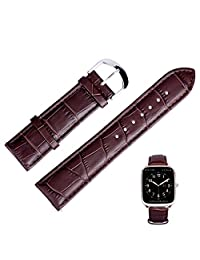 Fitian Replacement Leather Strap New Watch Band Replaceable Watchband Removable Wristband for Pebble Time Steel LG G Watch Asus Zenwatch Moto 360 Smart Watch (Brown, 22mm)