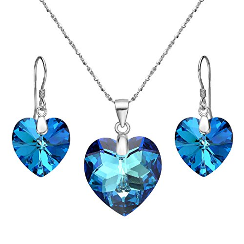 Bermuda Blue Crystal - EleQueen 925 Sterling Silver Heart Bridal Necklace Earrings Set Bermuda Blue Made with Swarovski Crystals
