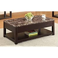 ACME Furniture 82127 Dusty Coffee Table with Lift Top, Faux Marble & Espresso