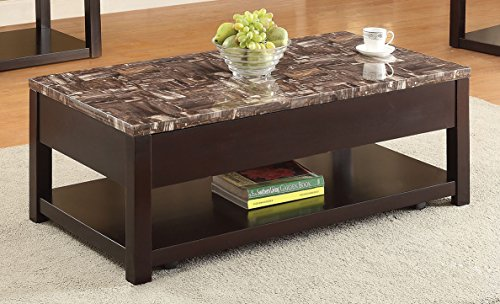 Acme Furniture 82127 Dusty Coffee Table with Lift Top, Faux Marble & Espresso (Top Espresso Marble)