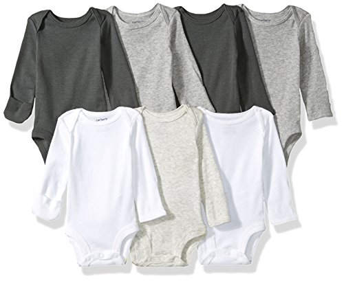 (Carter's Baby 7-Pack Long-Sleeve Bodysuits, Multi/Grey, Preemie)
